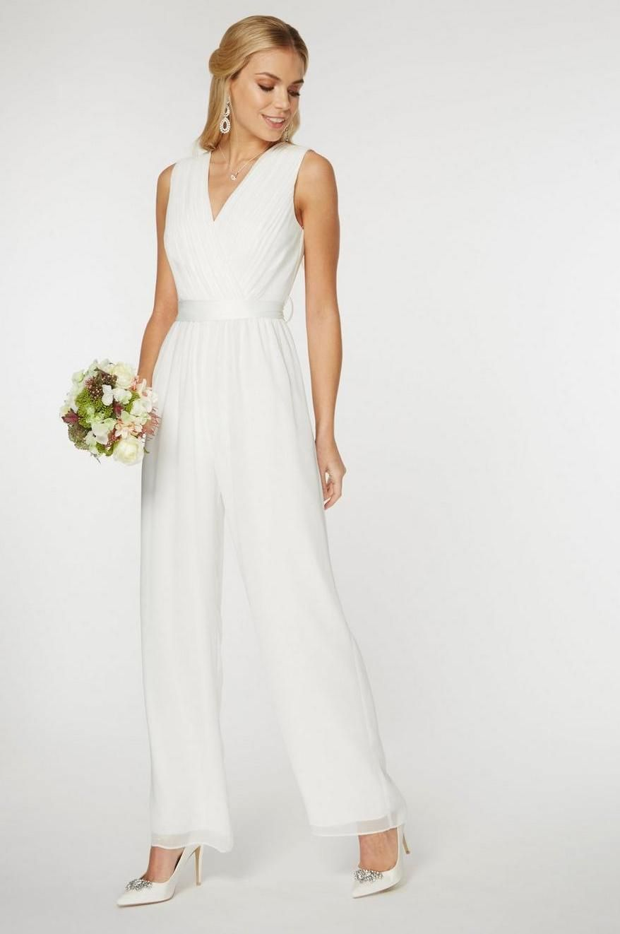 Juliet wedding dress  Dorothy Perkins Womens Showcase White uJulietu Bridal Jumpsuit