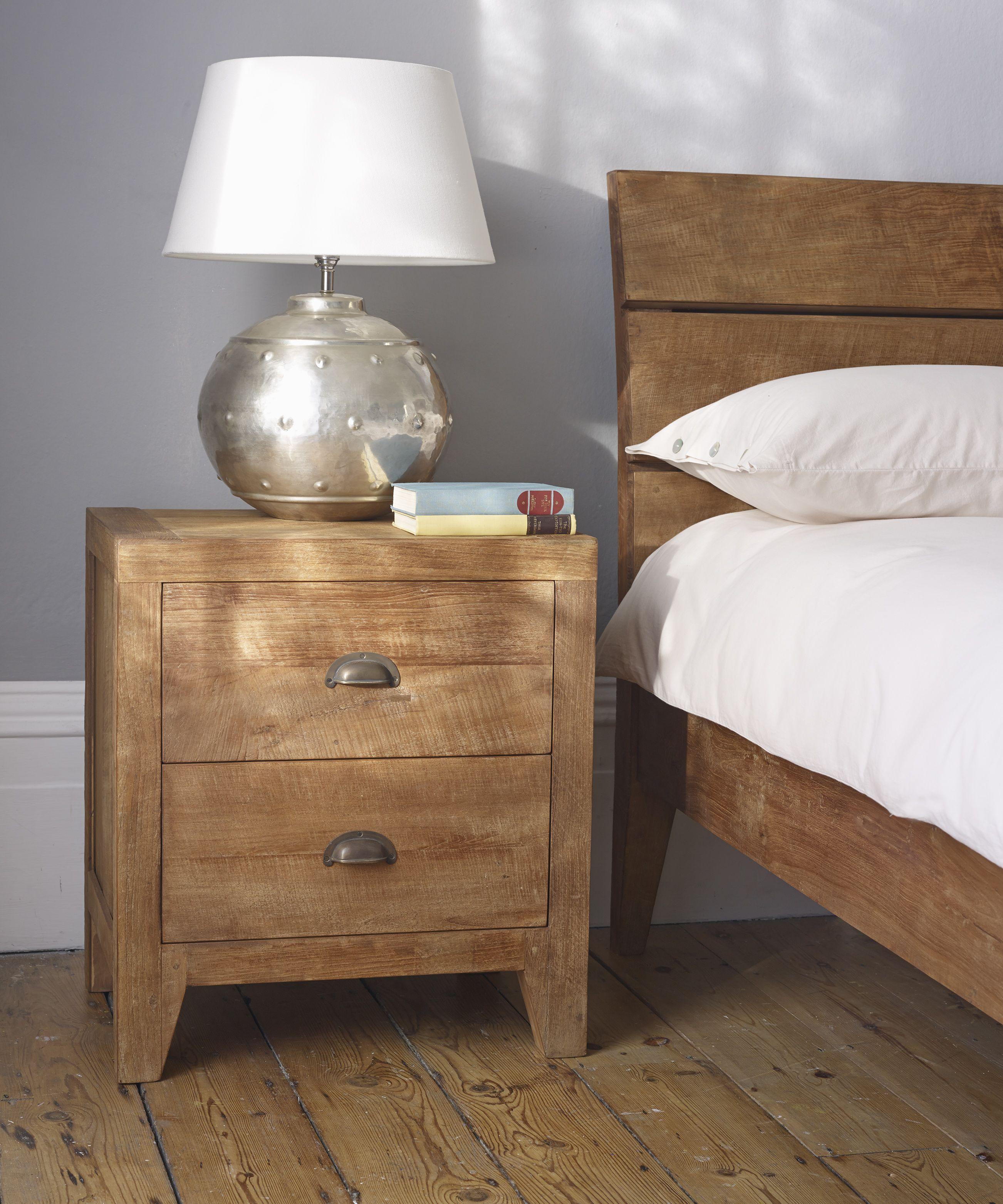 Sumatra Large Bedside Table Hand Crafted Vintage Handles Light