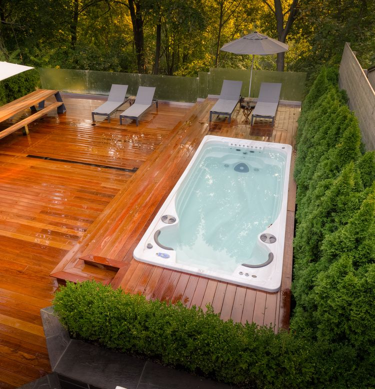 Check our website to view our catalogue of canadian made for Pool design with hot tub