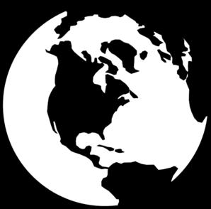 World Stencil Template Printouts Globe B W Clip Art