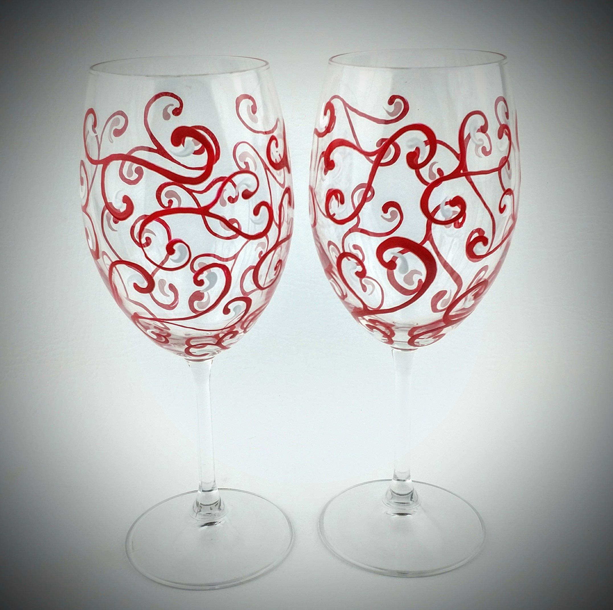 High Quality Wine Glasses Red Swirl Wine Glasses Hand Painted Elegant High