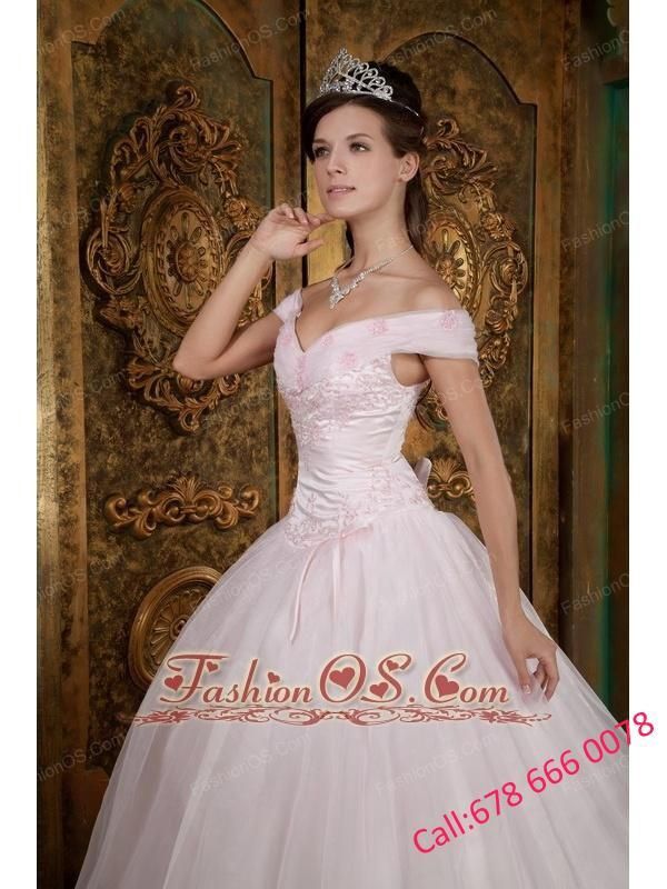 66c822a1ed1 Modest Light Pink Quinceanera Dress Off The Shoulder Appliques Organza Ball  Gown