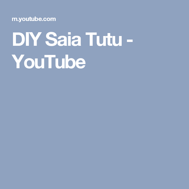 DIY  Saia Tutu - YouTube