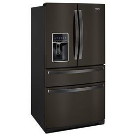 Whirlpool 26 2 Cu Ft 4 Door French Door Refrigerator With Ice Maker Fingerprint Resistant Black Stainless French Door Refrigerator Refrigerator French Doors