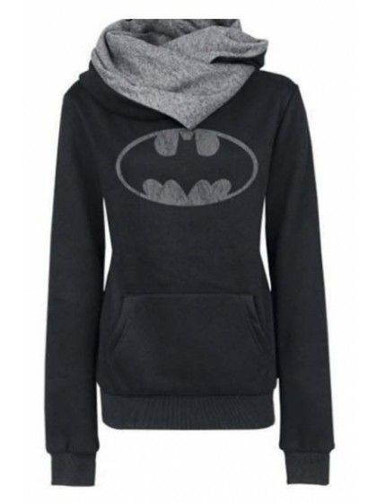 Women's Fashion Scarf Neck Batman Tops Hoodies Tees