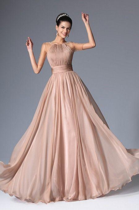 800a2852ef4 Вечернее бежевое платье в пол с короткими рукавами