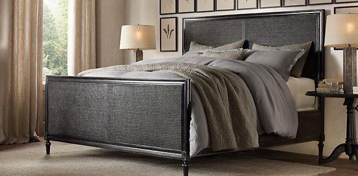 Maison Caned Bed Antiqued Black Restoration Hardware