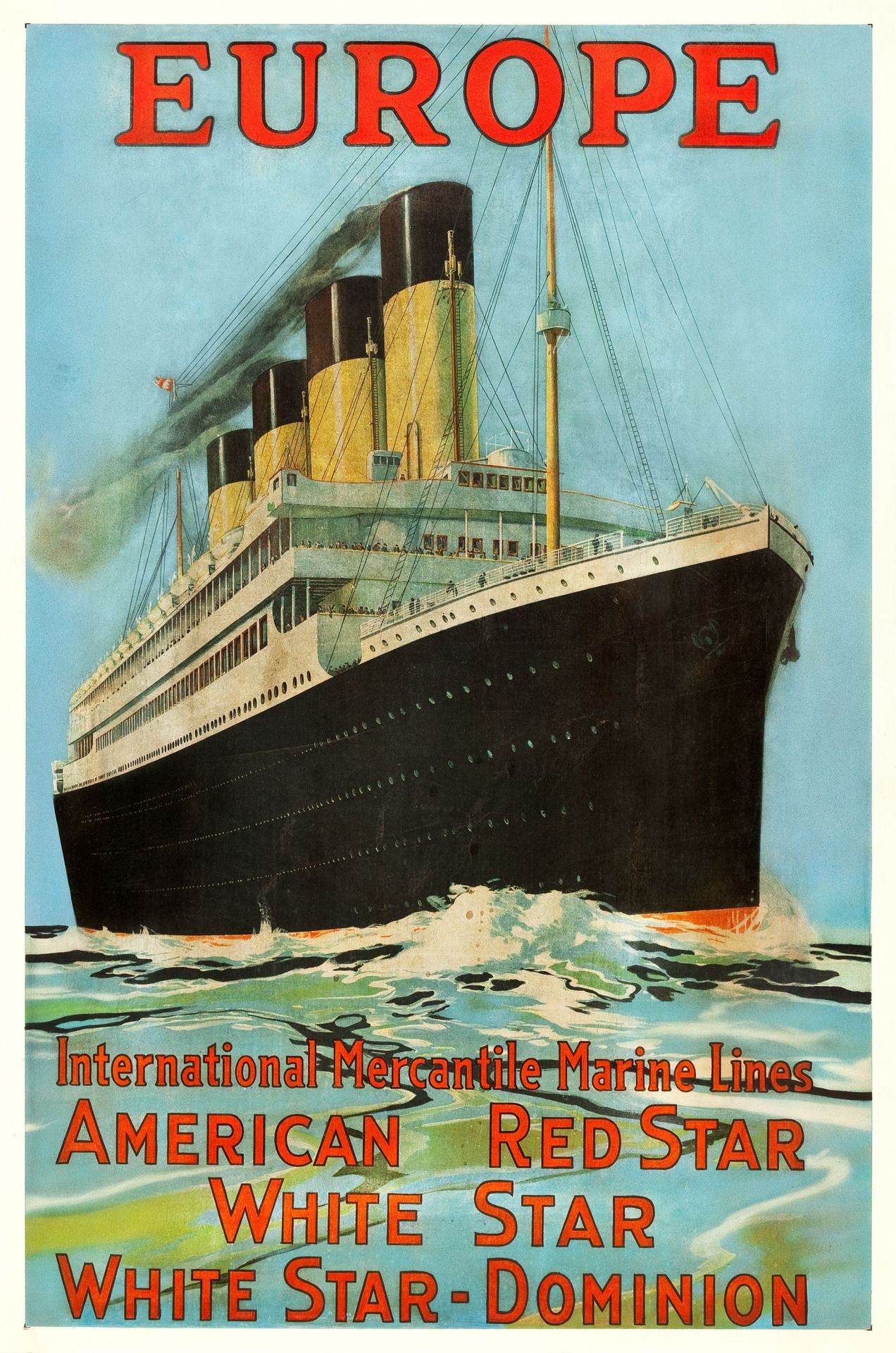EUROPE (White Star Line-Olympic/Titanic) (c.1912) | Vintage Travel ...