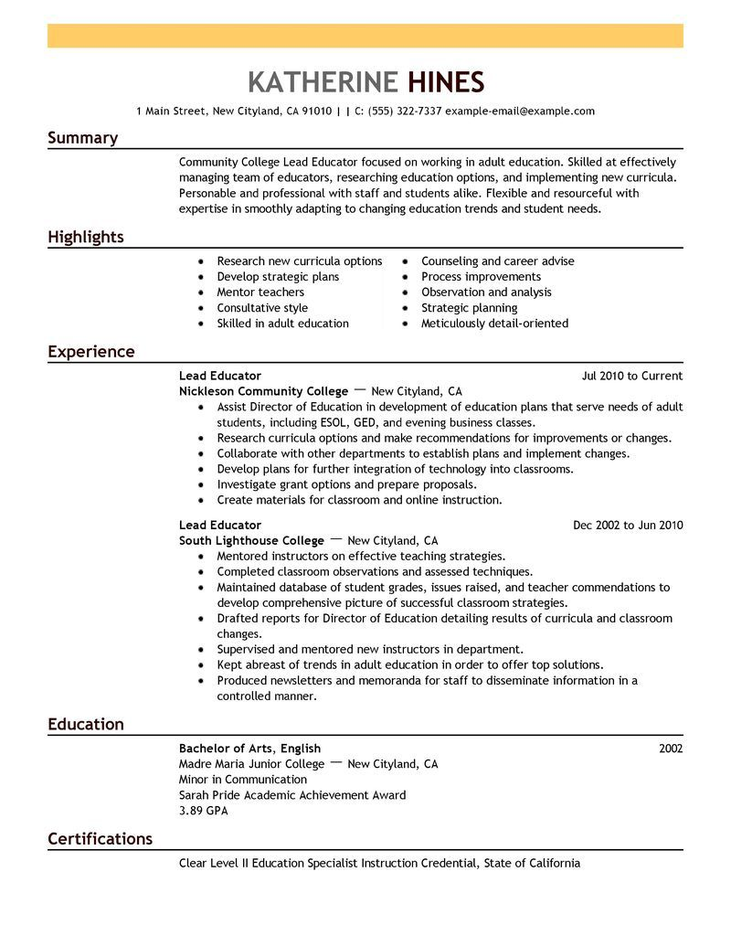 Best Lead Educator Resume Example  Livecareer  KristynCollege