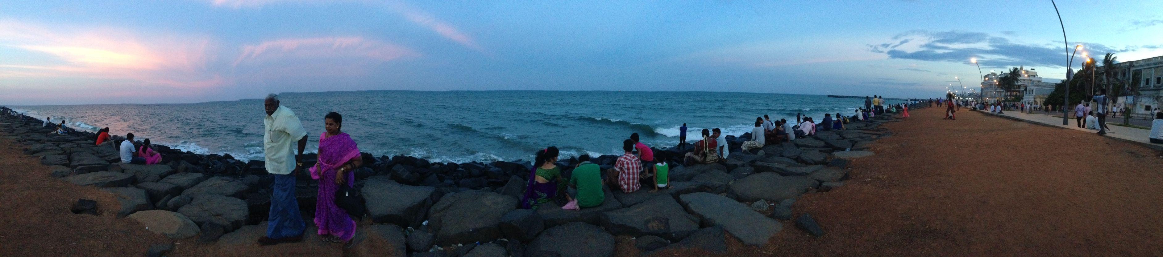 Precioso atardecer en Pondicherry. Y recuerdos imborrables.