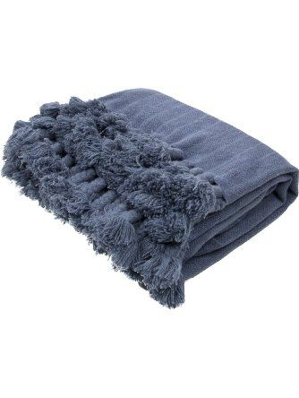 Jaipur Soft Hand Solid Pattern Blue Wool Throw, 50-Inch x 60-Inch, Bering Sea Native-1 ❤ Jaipur