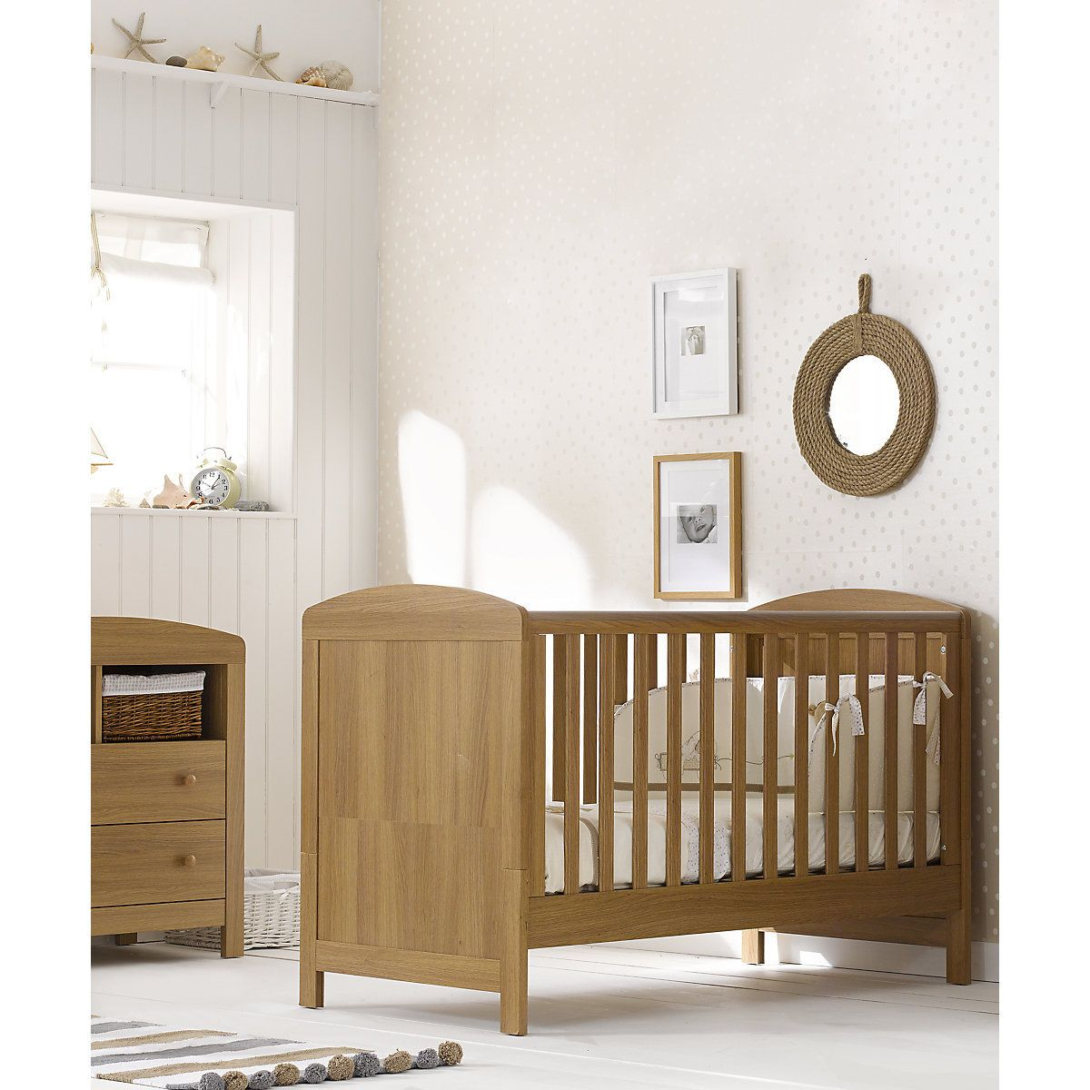 Mothercare Padstow Cot Bed- Oak Effect  Nursery furniture sets