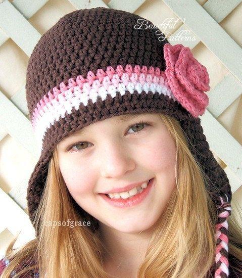 Crochet Hat Pattern Girl Crochet Hat Earflap Beanie With Rose Pdf
