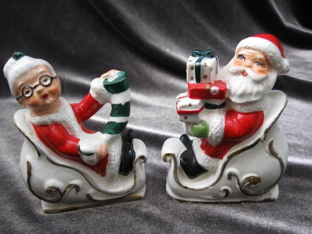 Mrs Claus Christmas Decorations Part - 36: Vintage Lefton Santa Claus U0026 Mrs Claus Christmas Sleigh Salt U0026 Pepper  Shakers