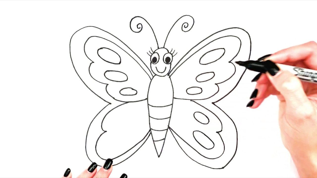 How To Draw A Butterfly Butterfly Drawing Easy Cute For Kids Step By St Super Easy Drawings Easy Drawings Butterfly Drawing