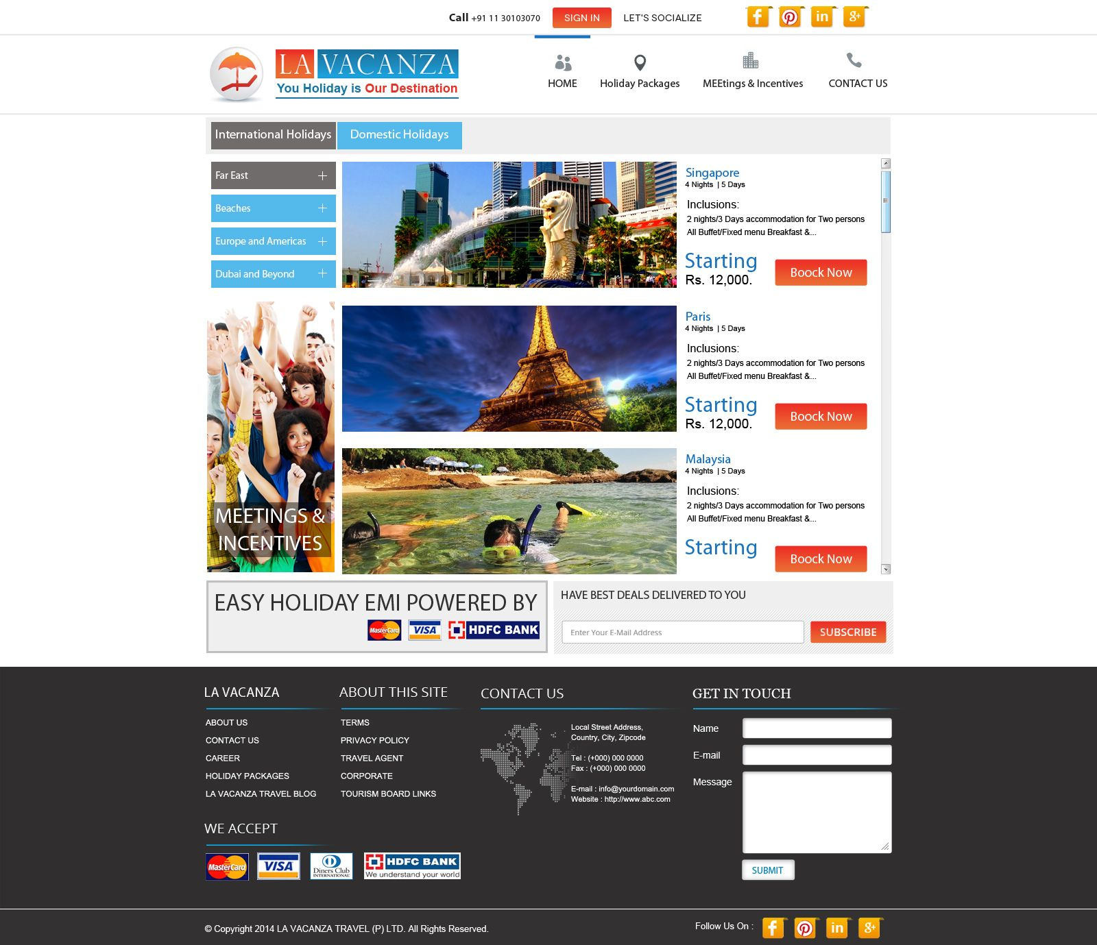 Holiday Package Landing page design sample.  Contact at www.softtrix.com for design landing pages.