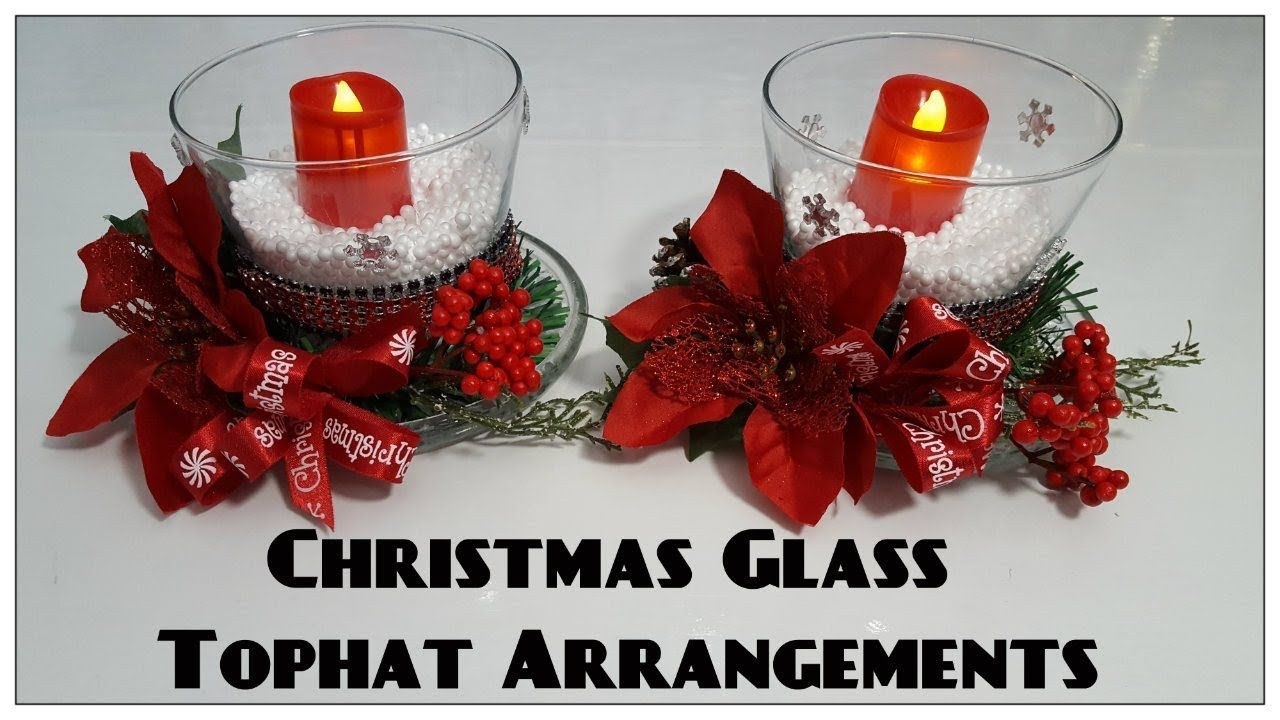 Triciaus creations christmas glass tophat candleholders dollar