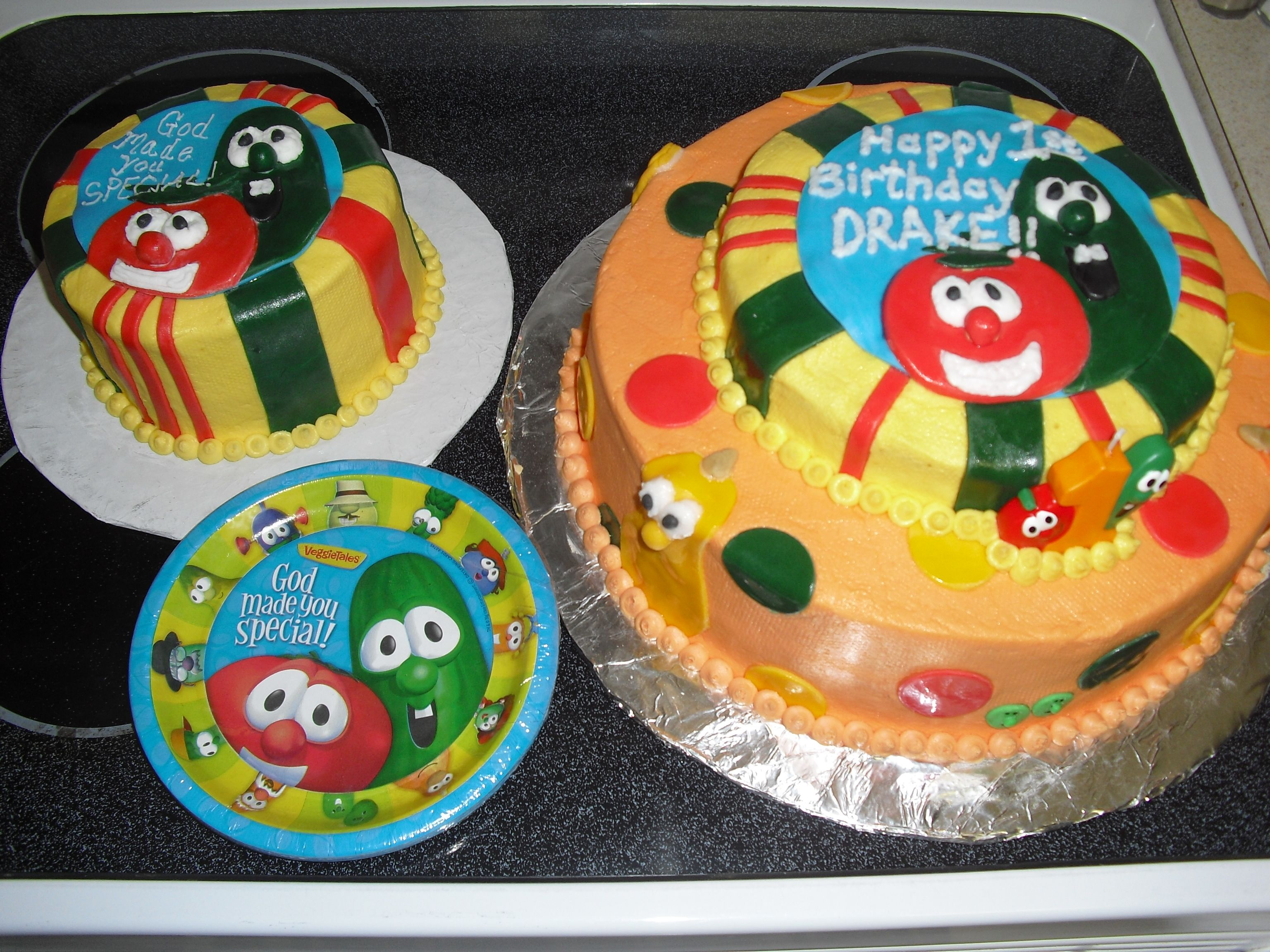 Super Veggie Tales 1St Birthday Cake And Smash Cake Veggie Tales Funny Birthday Cards Online Elaedamsfinfo