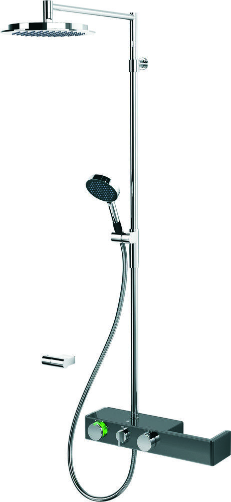 (Hinta 929,90 €) Oras Signa 6392-15 sadesuihkusettiin kuuluu harmaa termostaattinen suihkuhana, krominvärinen sadesuihku (jossa kalkkivapaa siivilä Ø 238 mm ja yläsuihkun kulma säädettävissä), suihkuputki, käsisuihku (jossa normaalin suihkun lisäksi