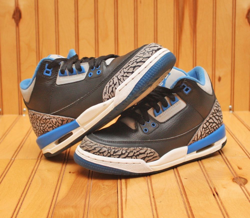 sale retailer 0ab83 a9a1c Nike Air Jordan 3 III Retro Size 4Y - Black Sport Blue Grey - 398614 007   Nike  BasketballShoes