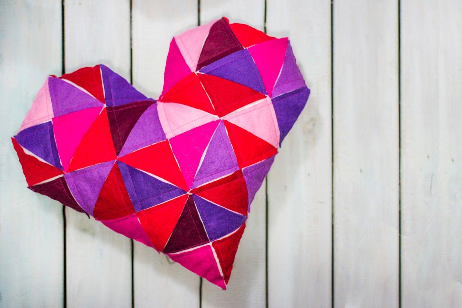 DIY: geometric heart cushion