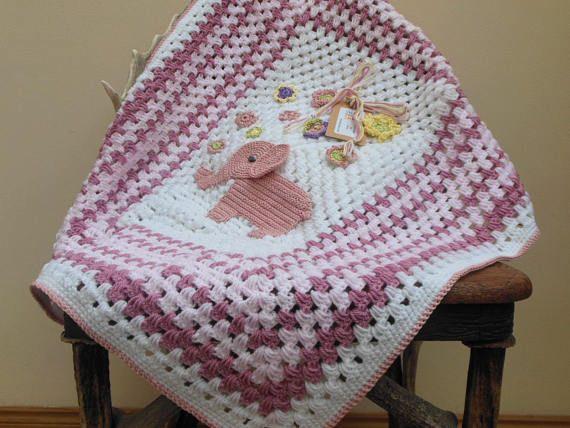 Pink Elephant Crochet Baby Blanket New Baby Girl Shower Etsy Crochet Baby Elephant Baby Blanket Crochet Elephant