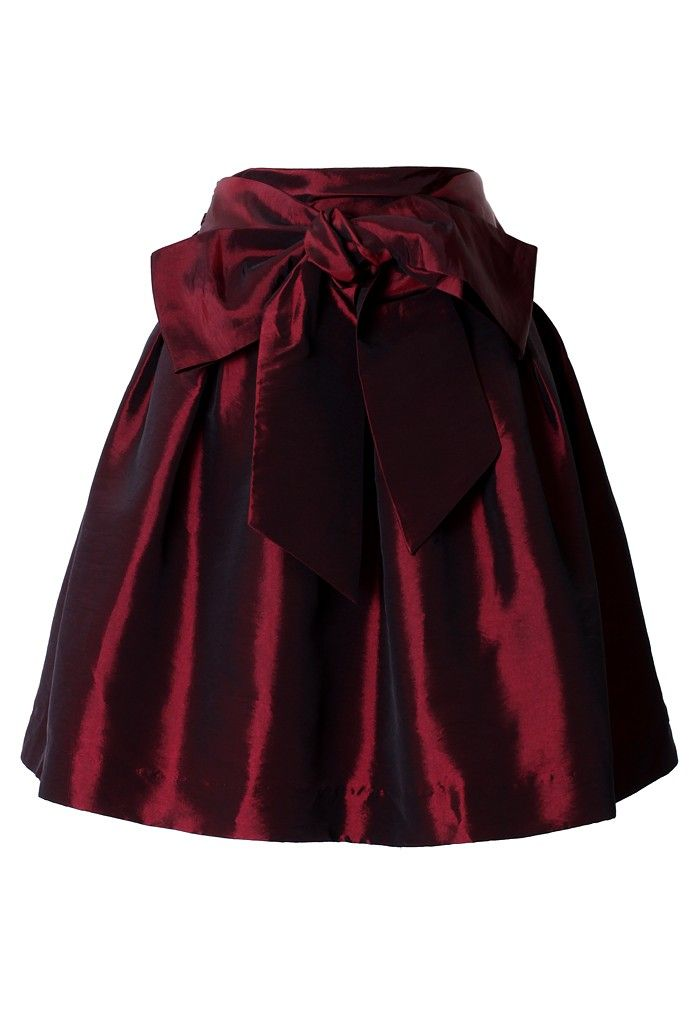 #Chicwish Bowknot Wine Red Full A-line Skirt