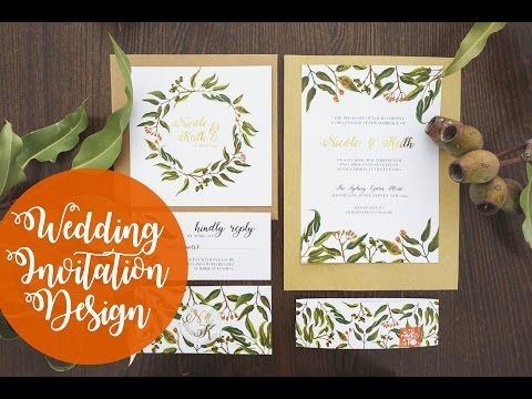 Wedding invitation design foliage watercolour photoshop wedding invitation design foliage watercolour photoshop youtube stopboris