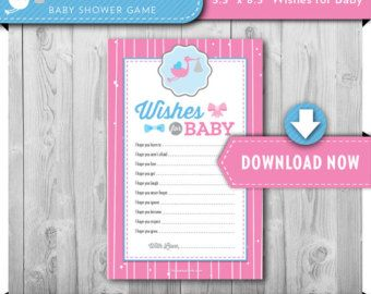 Wishes for Baby Printable Card | Gender Reveal Party or Baby Shower | Bows or Bowties | Pink Blue Boy Girl | Game INSTANT DOWNLOAD