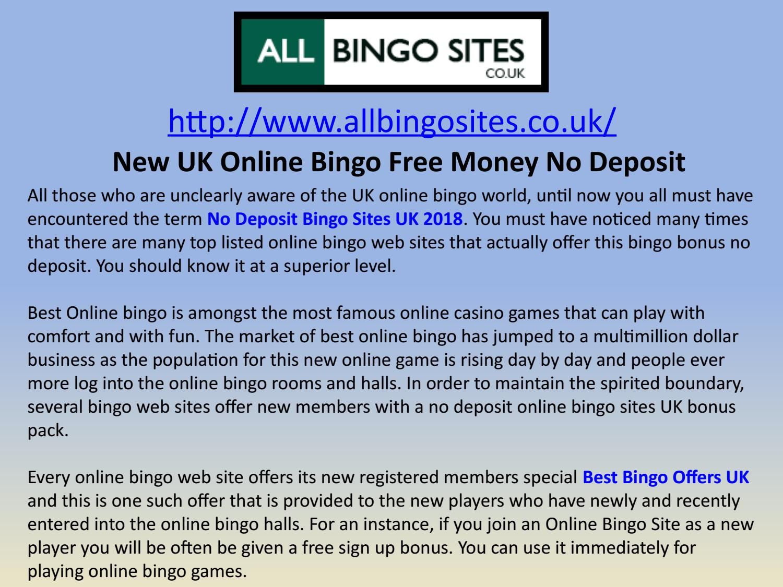 Free Bingo Money No Deposit