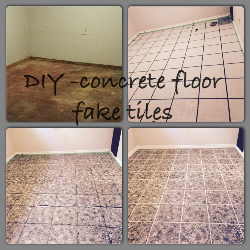 Fake tile on concrete floors - paint floor solid colour, tape ...