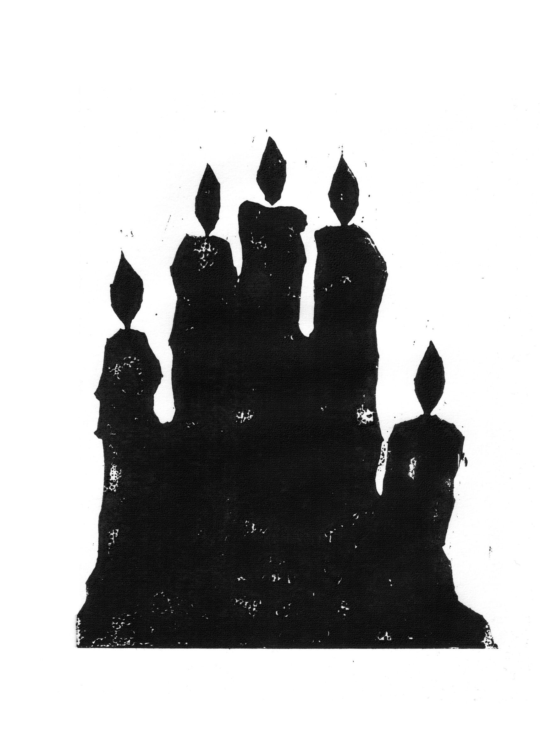 linocut, hand, candle