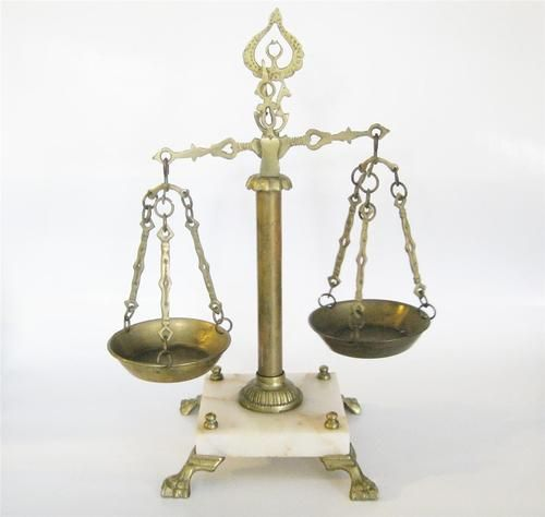 office space memorabilia. 1 vintage brass balance scales of justice marble base lawyer office needs repair space memorabilia