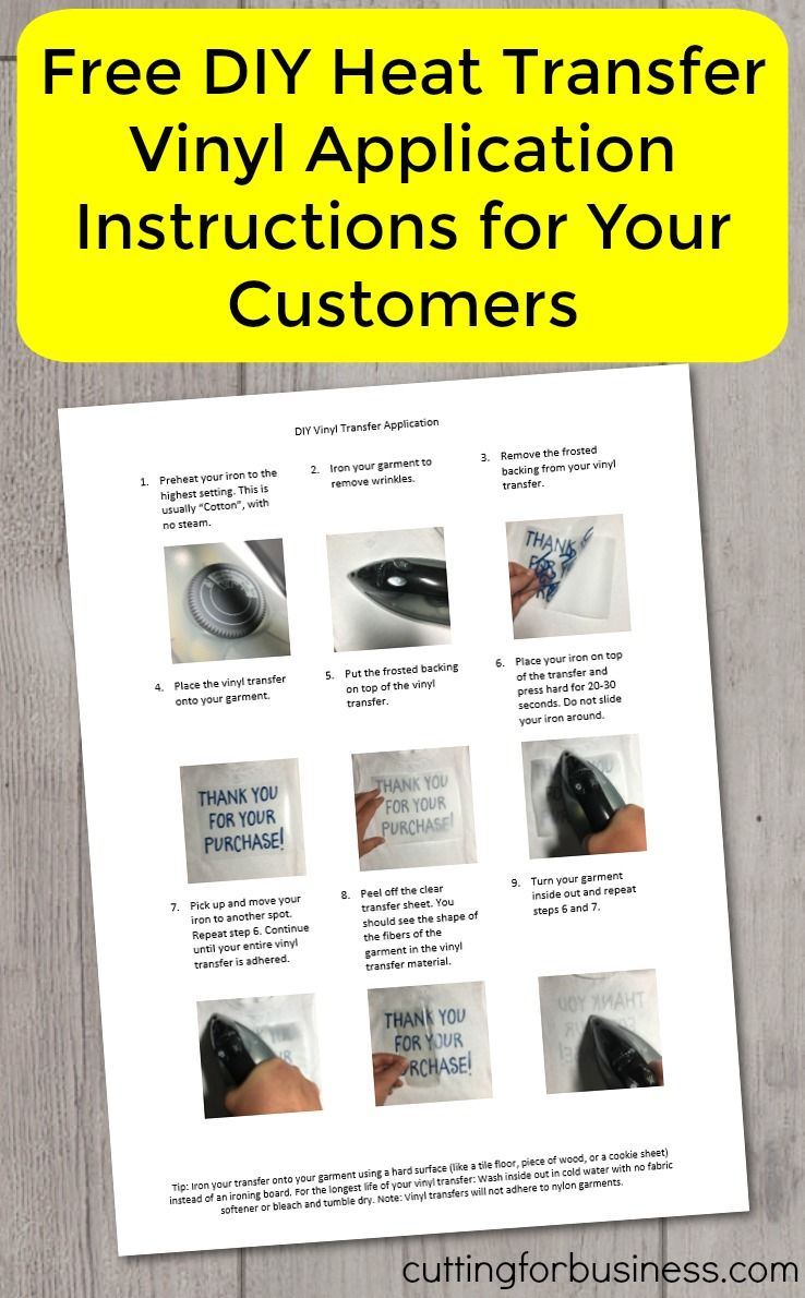 Free diy heat transfer vinyl application instructions to use for customers in your silhouette cameo or cricut small business by cuttingforbusiness com