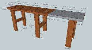 fabriquer son tabli en bastaing mod les 3d sketchup en 2019 bastaing table et fabriquer. Black Bedroom Furniture Sets. Home Design Ideas