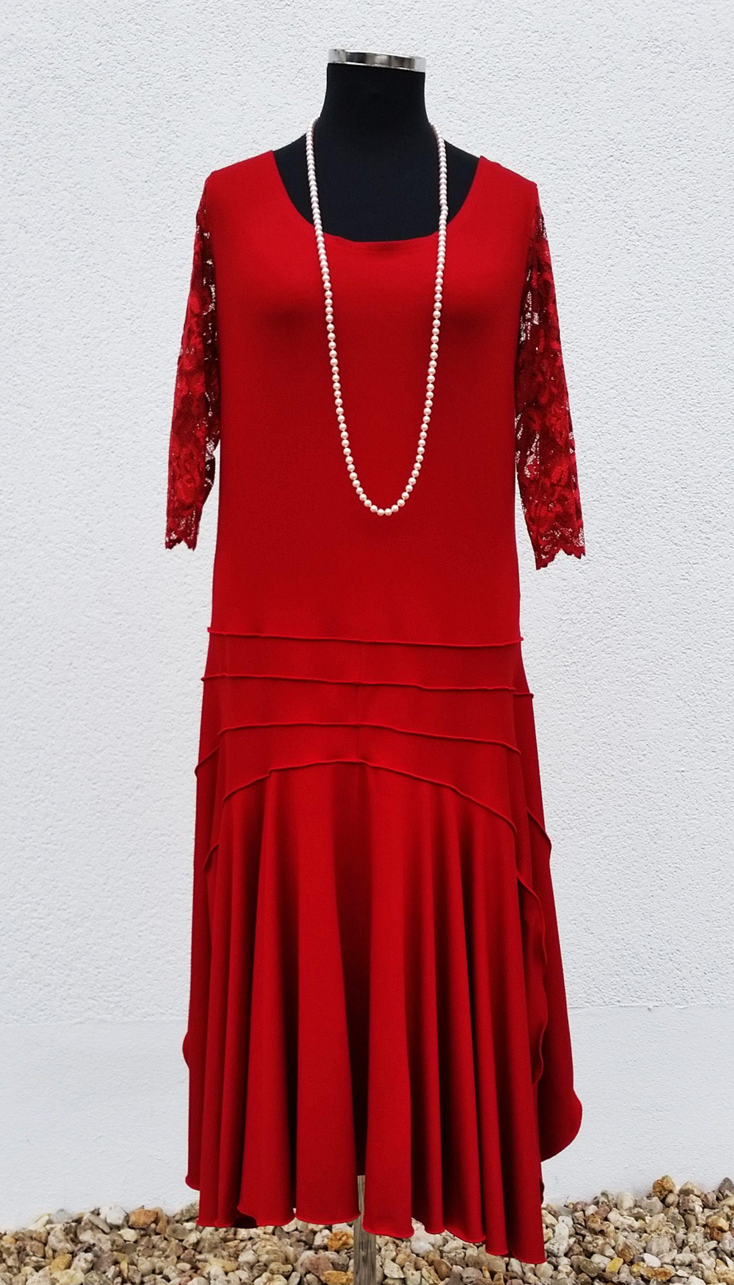 jersey kleid rot im 20er jahre stil von klennes damen mode vintage styl in 2019 vintage