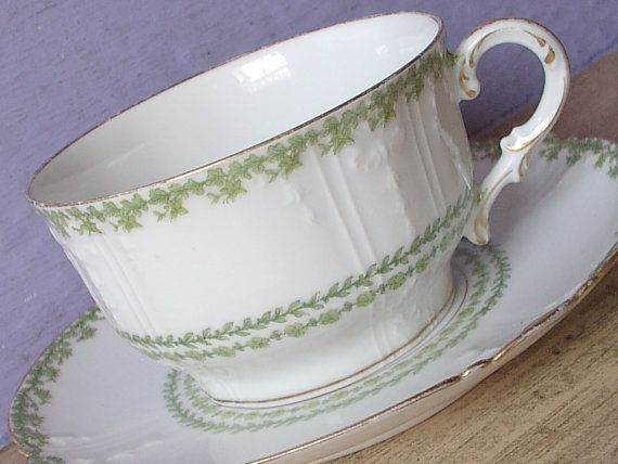 Large Antique Limoges teacup and saucer,  Charles Field Haviland tea cup, Green and white porcelain teacup, Victorian, French china teacup