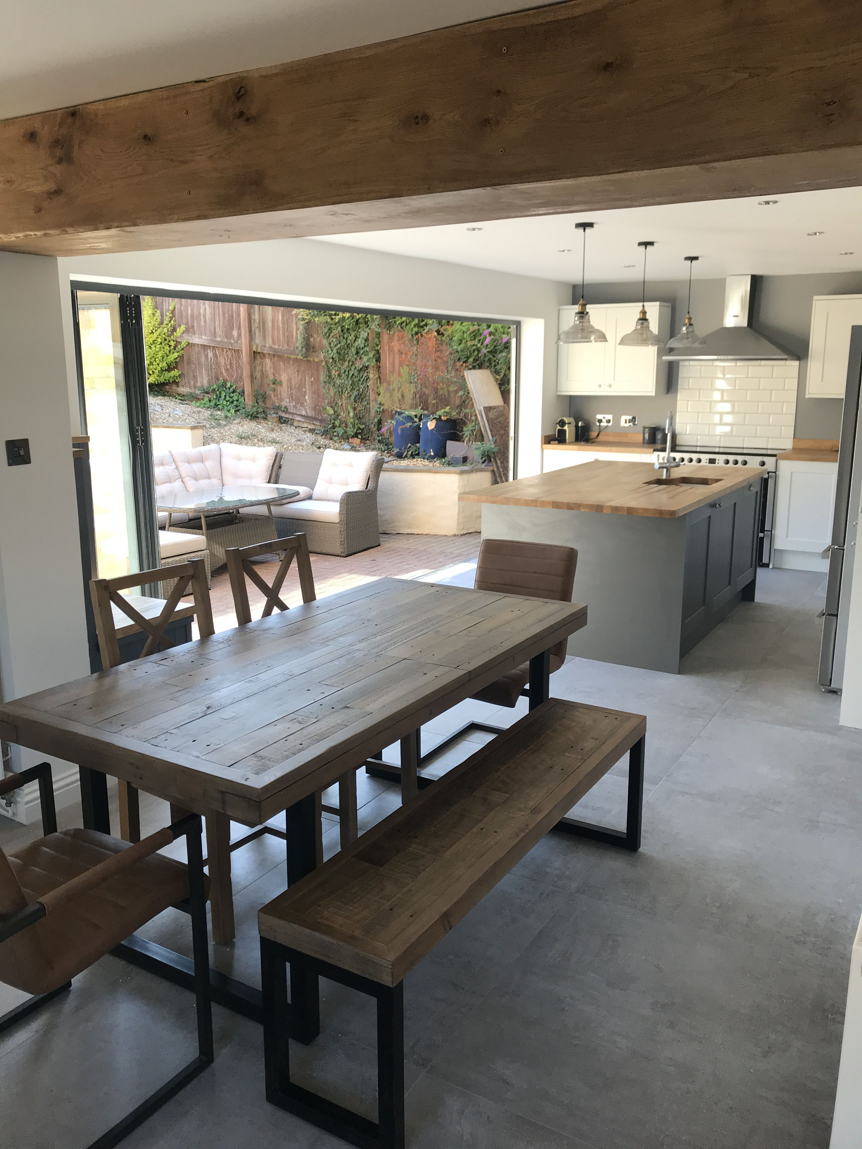Bifold Doors Grey And White Shaker Kitchen Industrial Style