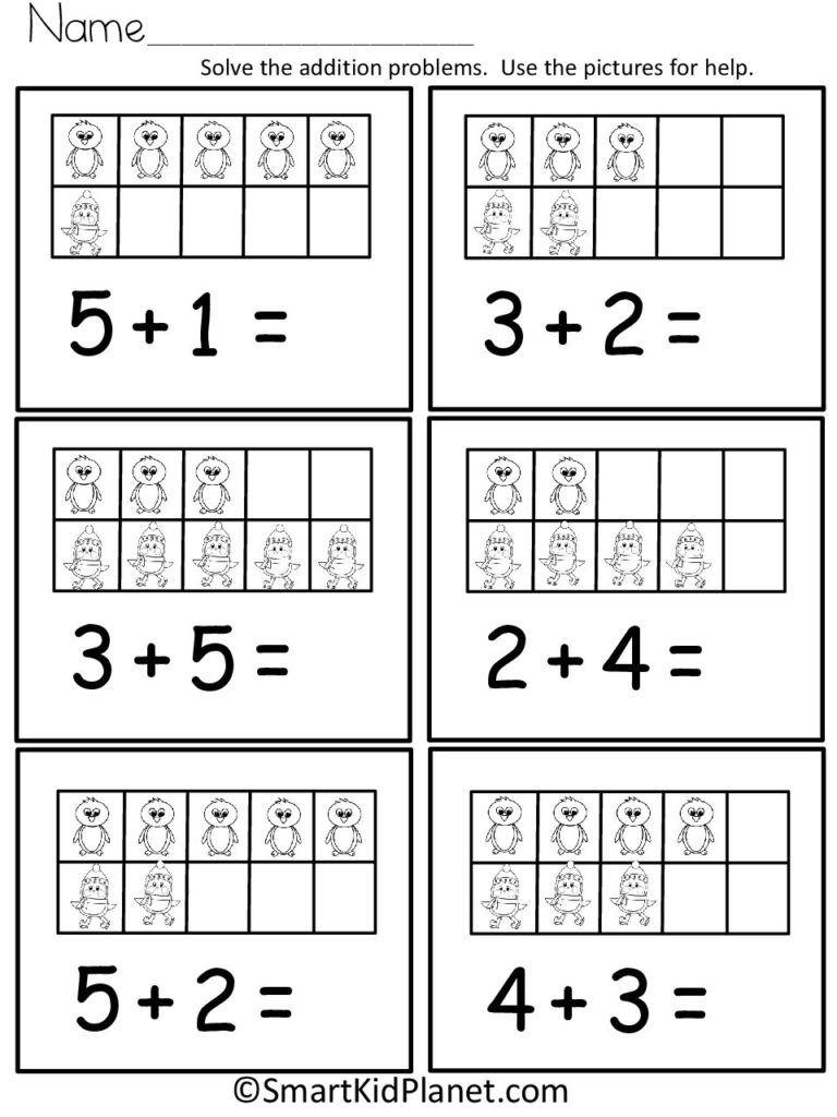Penguin Addition Using Ten Frames Up To 10 Smart Kid Planet Free Kindergarten Worksheets Ten Frames Kindergarten Kindergarten Worksheets