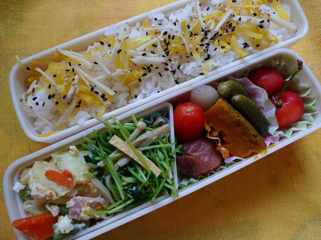 - Cabbage Hot Salad with Carrot, Common Beans, Beacon and Eggs  - Sauteed Bean Sprouts with Enoki Mushroom and Deep‐Fried Fofu: Soy Saurce  - Pickled Plum  - Fresh Tomato  - Boiled Pumpkin  - Pickles : Shallot and Cucumber  - Cherry