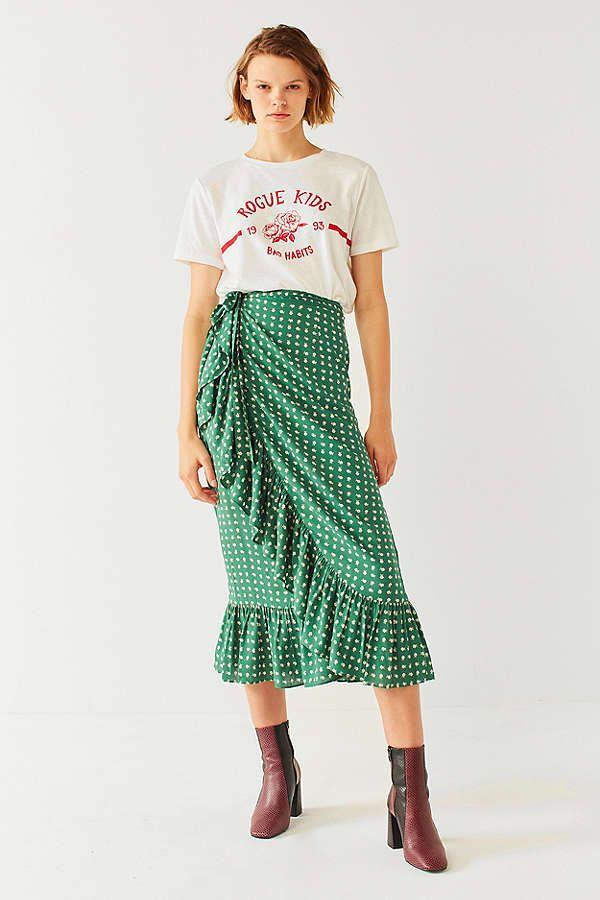 54123bede82ca UO Ruth Ruffle Wrap Midi Skirt