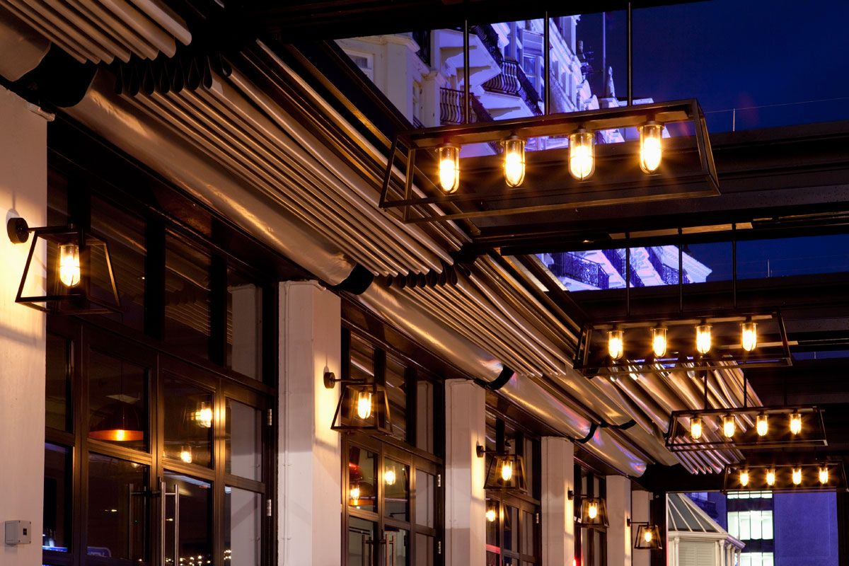 The salt room brighton outdoor terrace lighting into lighting the salt room brighton bespoke designed and made exterior pendants and wall lights by into lighting aloadofball Gallery