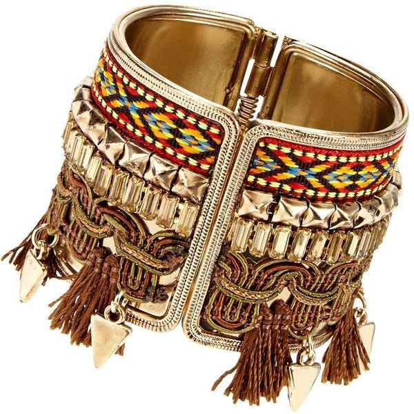 Tassel Aztec Cuff (€13) ❤ liked on Polyvore featuring jewelry, bracelets, accessories, fringe jewelry, hinged cuff bracelet, cuff bangle, metal cuff bracelet and bangle cuff bracelet