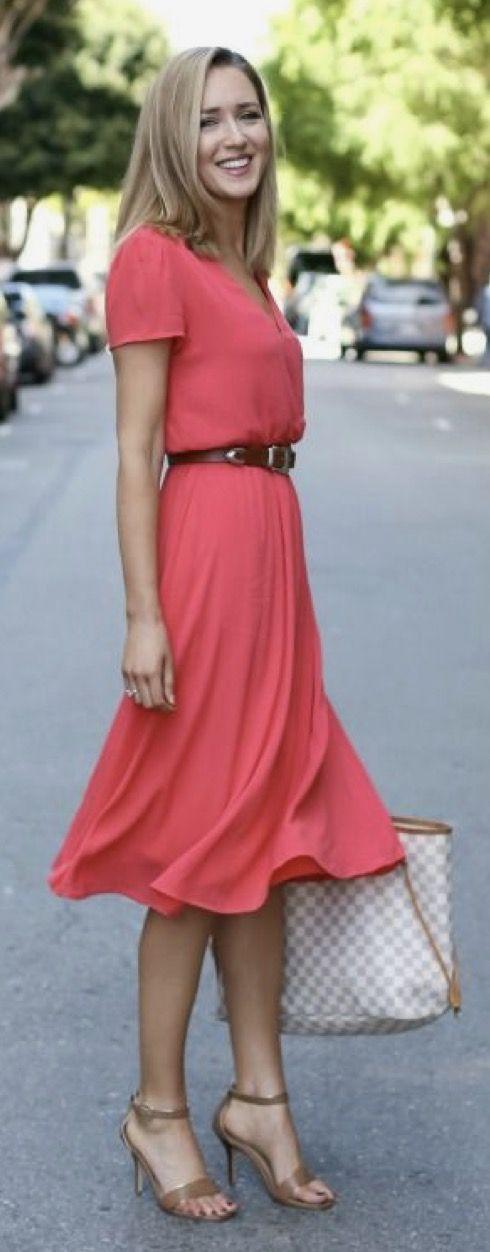 Knee Length Dress with Belt