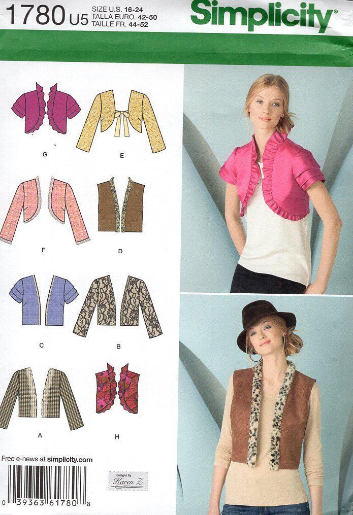 FREE US SHIP Simplicity 1780 Vest Bolero Shrug Jacket Sewing Pattern ...