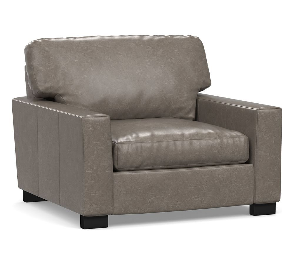 Turner Square Arm Leather Grand Armchair 44 Down Blend Wrapped