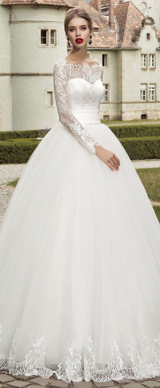 Charming tulle offtheshoulder neckline ball gown wedding dresses