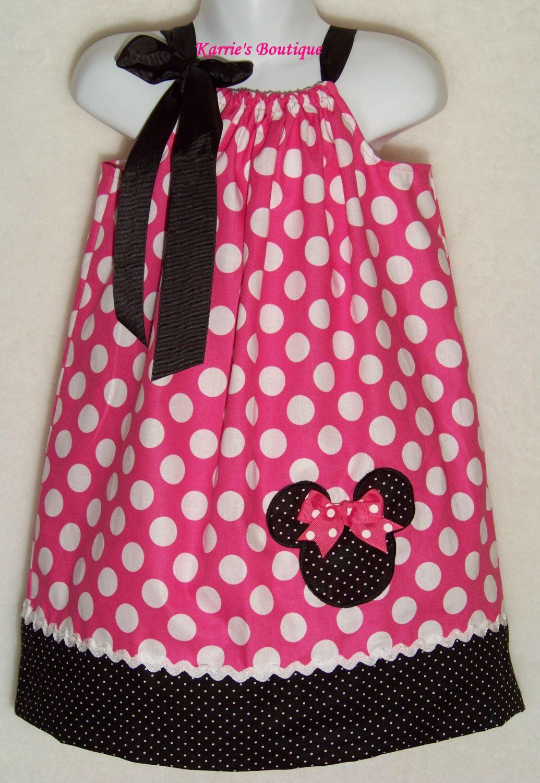 Minnie Mouse Pillowcase Dress / Pink Dots + Bk Micro Dots / Birthday / Disney / & Minnie Mouse Pillowcase Dress / Pink Dots + Bk Micro Dots ... pillowsntoast.com