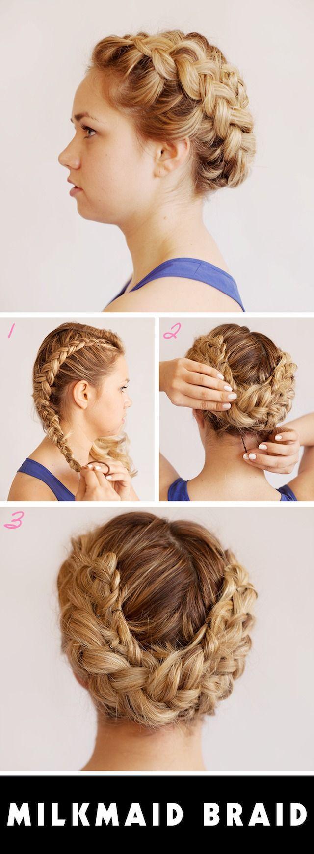 #hairstyle #milkmaid #tutorial #braids #updos #braid #prom ...
