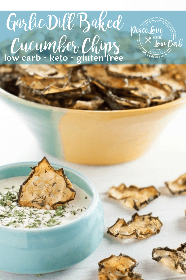 Garlic Dill Baked Cucumber Chips | Peace Love and Low Carb